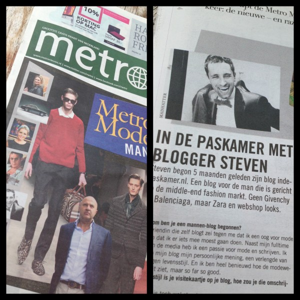 Vandaag 6 september interview indepaskamer.nl in Metro Mode Man editie